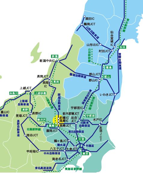 学校周辺の高速道路路線図