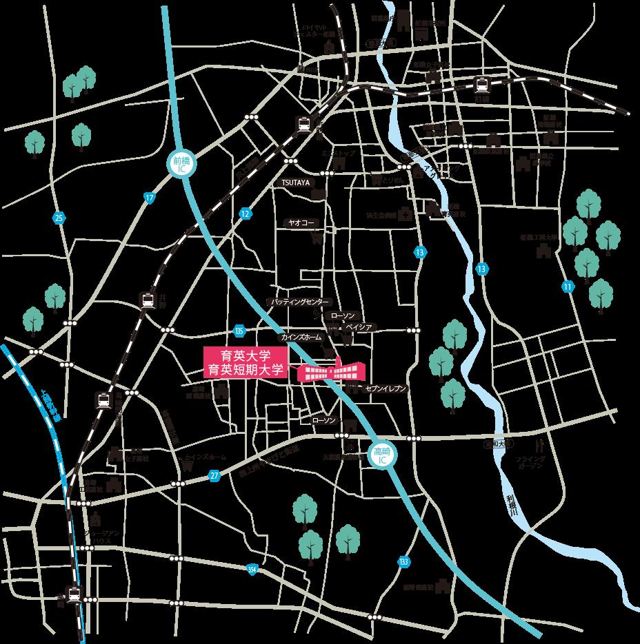 育英大学キャンパス周辺の地図